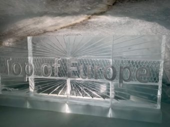 Jungfraujoch ice palace Top of Europe ice sculpture