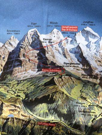 Jungfraujoch railway map