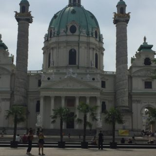 A close-up of the Karlskirche, Vienna