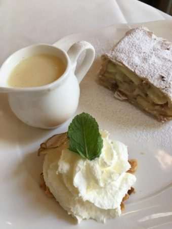 Vienna strudel and custard